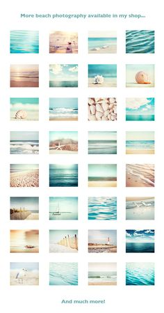 Pale Beach Photography Set - A set of nine calming beach photographs in white, cream and pale blue tones, the perfect wall accent for a coastal themed room. Orientation: Horizontal (Landscape) Need help coordinating prints? See my wall sets here: http://etsy.me/1aZ3edw