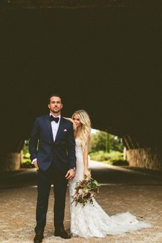 boho themed bride and groom wedding photo