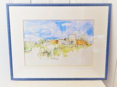 Watercolor Painting Impressionism Neighborhood Signed W 95 - pinned by pin4etsy.com