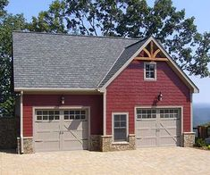 ELEVATION-- LOVE this exterior style for the house. Would choose a light neutral grey paint with white and black trim and some stone/brick. This garage is a great apartment plan too.