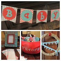 Mrs. McD Did That: Shes Ready to POP Baby Shower! Gender Neutral Red and Aqua