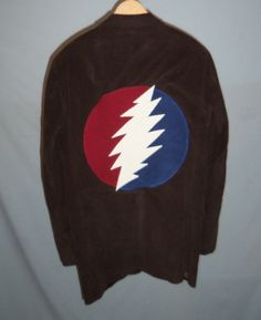 Grateful Dead 13 Point Lightning Bolt in Red and Blue Circle Brown Men's Corduroy Jacket / Coat Glow in the Dark by SlothsNest on Etsy