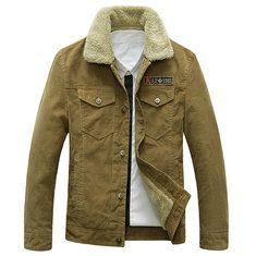 BAMan Men Brown Artificial Suede White Fleece Lining Turndown Collar Jacket