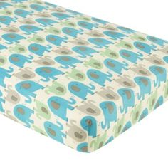 Elephants in the Room Crib Fitted Sheet (Blue)  | The Land of Nod $24