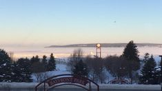 The bay frozen over in Petoskey, Michigan. The view from Grandpa Shorter's Gifts.