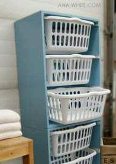 GREAT laundry room idea. Saves space