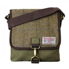 Small Canvas Messenger Bag With Harris Tweed in a Green herringbone Design Harris Tweed, Purse Patterns, Bago, Tartan, Baby Items, Messenger Bag, Satchel, Men, Shopping