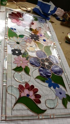"Glassworks Studio: Stained Glass Privacy Panel…""Flower Power,"" almost complete. Stained Glass Paint, Stained Glass Flowers, Stained Glass Designs, Stained Glass Panels, Stained Glass Projects, Stained Glass Patterns, Leaded Glass, Stained Glass Studio, Mosaic Art"
