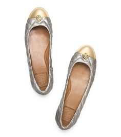 gold and silver tory burch flats