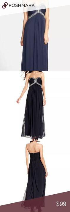 XSCAPE Navy Chiffon Jeweled Empire Gown6 New $209 XSCAPE ~ Navy Chiffon Jeweled Bodice Empire Gown 6 BNWT $209 Classy, Elegant, Rich & Flattering * Size: 6 US * Color: Navy (Photo with black dress is only shown for dress detail & features) * Retail: $209.00 *New with tags * Style Type: Evening Dress * Sleeve Length: Strapless * Closure: Hidden Back Zipper * Dress Length: Full-Length *Total Length: 52 Inches *Waist Across: 13 1/2 Inches *Hips Across: 17 Inches *Material: 100% Polyester…