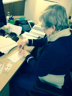 """""""Merilee, Financial Secretary of Grace, PATIENTLY puts stamps on envelopes for a mass church mailing."""" -Grace Lutheran, Bellevue, Washington #patience #watchandwait"""