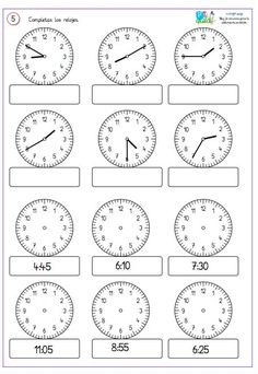 Comparto un par de fichas para reforzar . First Grade Math Worksheets, 1st Grade Math, Preschool Worksheets, Clock Worksheets, Preschool Writing, Homeschool Math, Math For Kids, Teaching Math, Teaching Time
