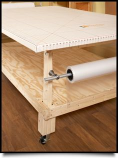 How to Design and Build Custom Workroom Tables How-To Guide - Explore options for worktable design and build instructions from the frame-up for a full-sized cutt - Sewing Room Design, Sewing Spaces, My Sewing Room, Sewing Studio, Sewing Rooms, Sewing Room Organization, Craft Room Storage, Fabric Storage, Craft Rooms