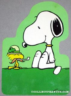 Snoopy with Woodstock as an Irish leprechaun on a vintage St. Patrick's Day Greeting Card. Love it!