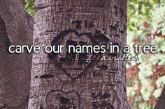 Would love to do this, can't help thou to imagine the tree crying(Carving names into a tree is actually really bad for a tree and could die because of it) but the long lasting memory and the idea of it is really fun