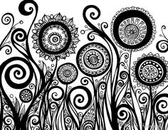 Original Ink Pen Drawing of Flowers Swirls and by sometimesiswirl, $90.00