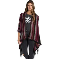 Billabong Juniors Loosen Up Stripe Cardigan Sweater Black Cherry Medium -- More info could be found at the image url.