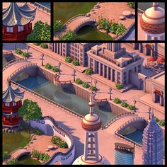 This is a for a prerendered isometric online game. The image on the left shows my initial loose concept design (removed per client request. ET_China_Shanghai Isometric Art, Isometric Design, Pixar, 3d Polygon, Studios, Pixel Games, Game Environment, Digital Storytelling, Animation Background