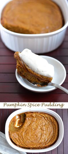 Baked Pumpkin Pudding with Whipped Cream