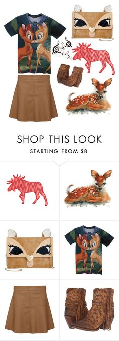 """Deer Friends"" by rubysal ❤ liked on Polyvore featuring Betsey Johnson, Dorothy Perkins, Lucchese, Benzara and deer"
