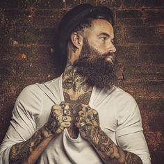 Shaun Garvey - full thick beard mustache beards bearded man men mens' style rings tattoos tattooed bearding #beardsforever