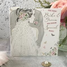 to The Bride and Groom on Your Special Day - Handfinished Wedding Card with Crystals Newly Married, All About Eyes, Beautiful Bride, Special Day, Bride Groom, Wedding Cards, Highlight, Envelope, Pastel
