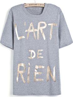 Camiseta letras dorados manga corta-gris EUR€18.23