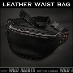 送料無料!飽きのこないシンプルなデザインです!厚みのある良質な柔らかい牛革を使用!。レザーウエストバッグ ヒップバッグ ウエストバッグ 牛革 ブラックBiker Leather Fanny Pack Waist Bag Black WILD HEARTS Leather&Silver (ID wb1000b14)