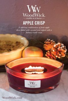 Apple Crisp warms your heart on a cool Fall day with it's delicious combination of fresh apple slices baked in gooey caramel and topped with a buttery crumb crust. WoodWick® candles use a natural, wooden wick that creates the soothing sound of a crackling fire! #fallcandle