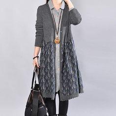 Leisure Women Spring Autumn Knitting Splicing Printing Gray Dress