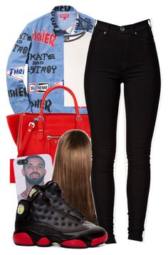 """""""drake"""" by lovebrii-xo ❤ liked on Polyvore featuring Topshop, Balenciaga and Dr. Denim"""