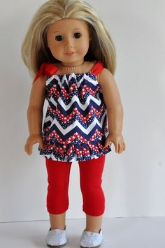American Girl Doll Clothes Fourth of July Red,white and Blue Chevron Print Top with Ruffle and  Red Leggings 18 inch