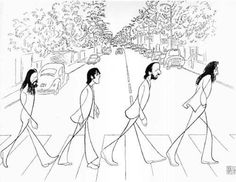 "The Beatles ""Abbey Road"" ~ Al Hirschfeld caricature"