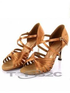 Magnifique café Satin 3'' haut talon Womens latine Shoes      Groupe: Femme     Occasion: Danse latine     Hauteur de Talon: 7.5cm     Type de Talon: Bobine     Bout de Chaussures: Ouvert     Couleur affichée: Marron     Poids: 1kg