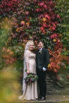 Bride and groom from a Romantic Autumn Wedding. Photography by Paul Santos