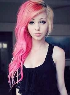 Pink and blonde hair.