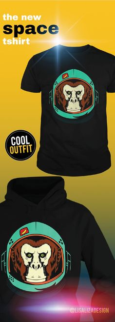 """Monkey Astronaut Retro Colorized Funny Outer Space Mars TShirt / Hoodies.  Show your """"space"""" on your body with amazing space T-shirts from     our collection .   Great gift ideas for teen boys, kids and men .  Cool space men Tee designs for everyday casual wear. #space #spaceship #astronaut #galaxy #spacegraphictee #spacetravel #graphictee #men #kid #spacecat #cat #nasa #cool #humor #funny #Boys #plussize #sunfrog #giftideas #Alien #planet #solar #gift #Lisaliza #Sunfrog"""