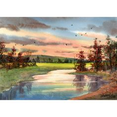 Original Watercolor Painting Creek sunsets western landscape painting Tree water reflections art watercolour Paintings 7x10
