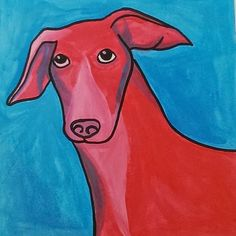 """Dobby the Whippet"" - Colourful, Contemporary Acrylic Paint Pet Portrait 