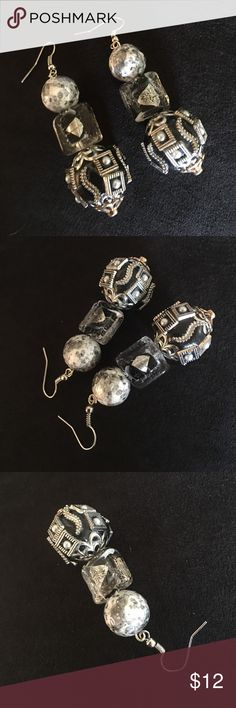 Hand made Eclectic dangle earrings These earrings were made from unusual stones that I found and I could just see them being combined together.  For all of you out there that love to have something that no one else has these can be yours and yours alone. Jewelry Earrings