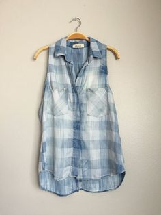 BELLA DAHL Sleeveless Gingham Plaid Denim Button Down Shirt Blouse Chambray S #BellaDahl #ButtonDownShirt #Casual