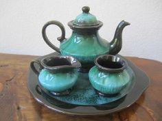 Blue Mountain Pottery Tea Service Set Green by EmeraldIsleDesigns, $130.00
