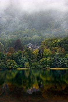 Stately home at Loch Achray, Scotland.