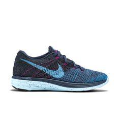 newest e40f0 73f73 Nike Flyknit Lunar 3 Women s Running Shoe in Squadron Blue Blue Lagoon Fuchsia  Flash Clearwater
