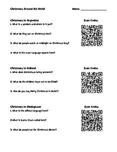 This is an activity that I use in Social Studies around the holidays.  It contains QR codes that students scan using an iPod or iPad.  Once they are at the site, they read about a different country's holiday traditions.  They have to answer questions on the worksheet about the specific country.