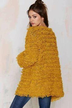 Knitz by For Love & Lemons Joplin Knit Cardigan - Cardigan Gilet Crochet, Crochet Coat, Knitted Coat, Crochet Cardigan, Knitting Wool, Hand Knitting, Knitting Designs, Knitting Patterns, Cute Skirt Outfits