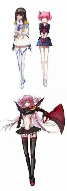 Madoka Magica and Kill la Kill crossover. Homura and Madoka. I love this too much.
