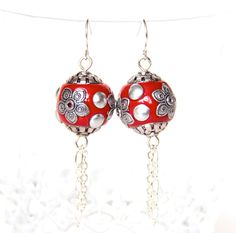 Statement red art deco modern earrings w/ silver chains. $23.00, via Etsy.