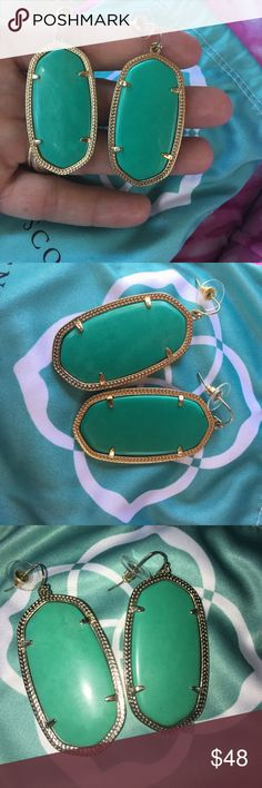 Gorgeous Teal Danielle Kendra Scott earrings! These are all so beautiful but I jumped the gun and bought a few pairs, not realizing how big they are. They are too heavy for my sensitive ears 😔. Includes bag. Kendra Scott Jewelry Earrings