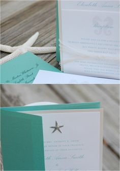 Oceans of Love Invitation Suite - starfish & seahorse nautical beach wedding - sample listing. $4.25, via Etsy.